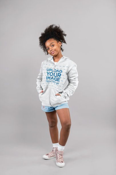 Zip-Up Hoodie Mockup of a Girl with Curly Hair 24861