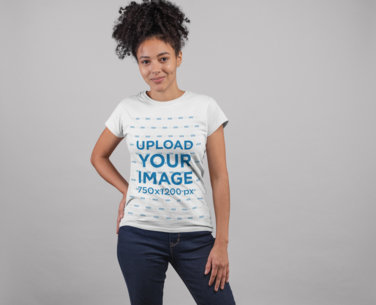 T-Shirt Mockup Featuring a Pretty Girl with a Kinky Ponytail 24272
