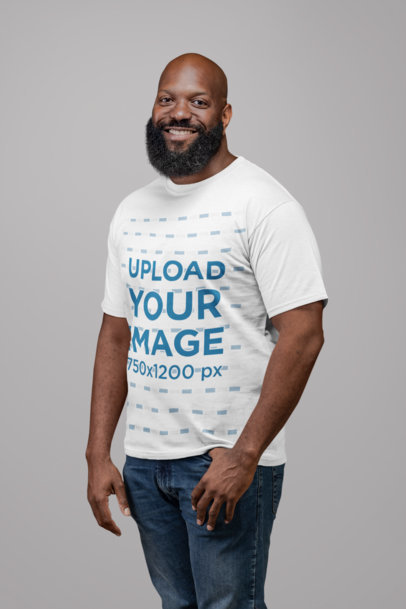 T-Shirt Mockup of a Smiling Man with a Thick Beard 21522