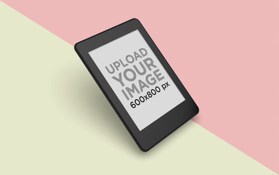 Kindle Mockup Floating over a Split Bicolor Surface 26142