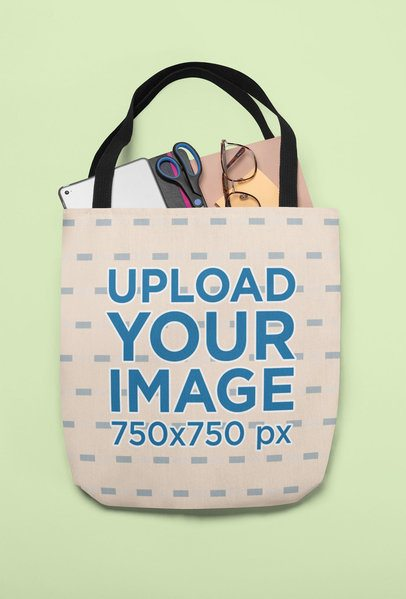 Mockup of a Tote Bag Full with Office Supplies 24832
