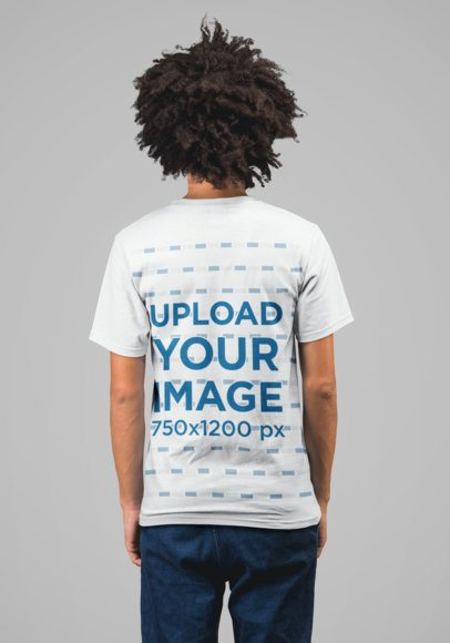 Back T-Shirt Mockup of a Young Man with Afro Hair  22223