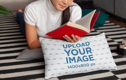 Pillow Mockup of a Woman Lying and Reading over Her Bed 25911