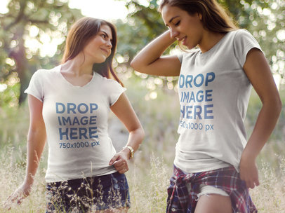 T-Shirt Mockup of Two Young Women Outdoors 7175a