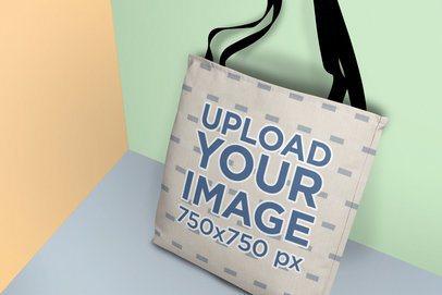 Tote Bag Mockup Featuring a Multicolor Setting 25166