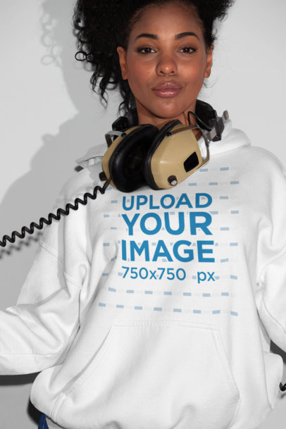Pullover Hoodie Mockup of a Girl with Headphones Around Her Neck 21913