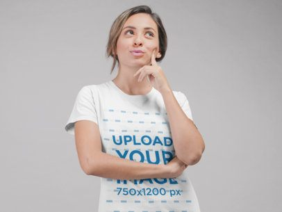 Round Neck Tee Mockup of a Pensive Woman at a Studio 22339