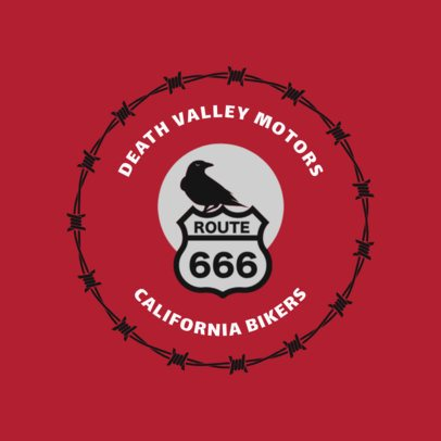 Biker Bar Logo Design Template with Spiky Frame 1763c