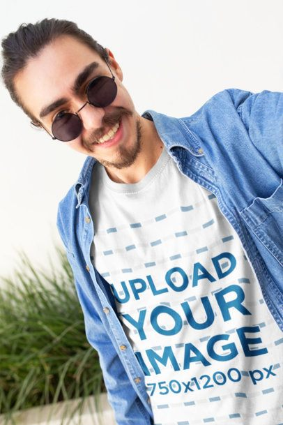 Tee Mockup of a Happy Customer with a Demin Shirt and Cool Sunglasses Taking a Selfie 26200