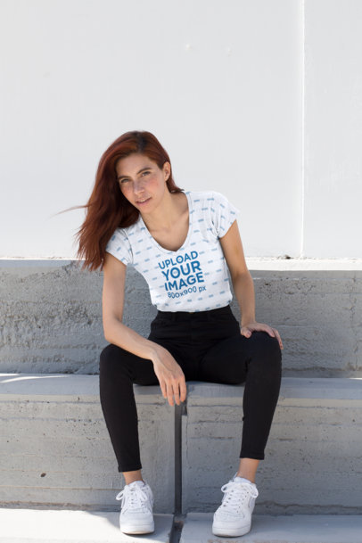 Mockup of a Red Haired Woman Wearing a Sublimated V-Neck Tee 24971
