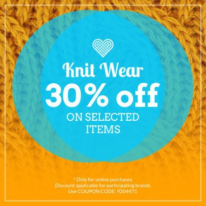 Discount Coupon Template for a Knit Wear Promo 1024b