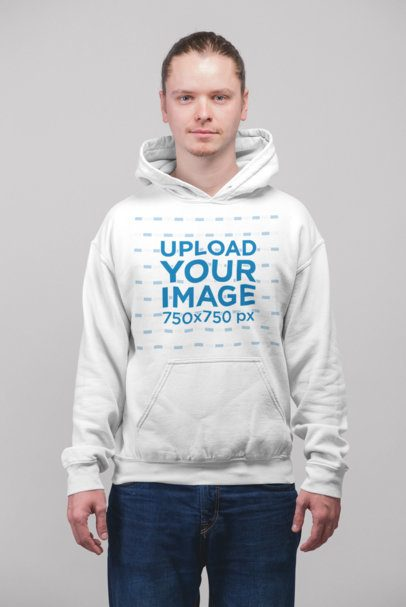Pullover Hoodie Mockup of a Red Hair Man Standing in a Studio 23000