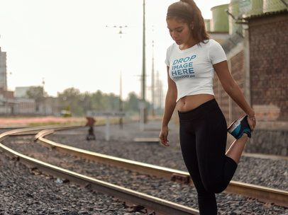 T-Shirt Mockup of a Girl Wearing Activewear Outdoors 7116a