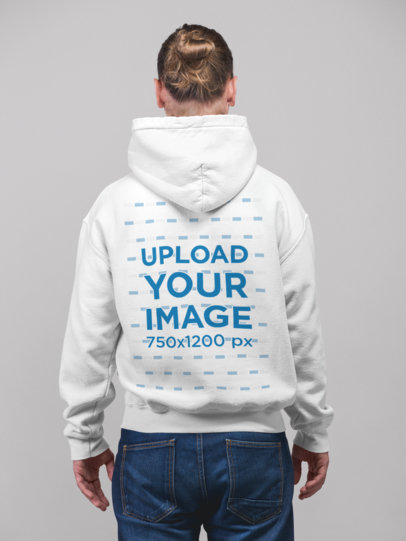 Mockup of a Man with a Hair Bun Facing Backwards Wearing a Pullover Hoodie 23081