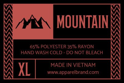 Inside Tag Template for a Mountain Clothing Brand 1143a