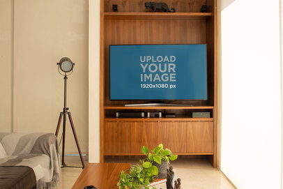 Mockup of a Smart TV in a Relaxing Living Room 25811