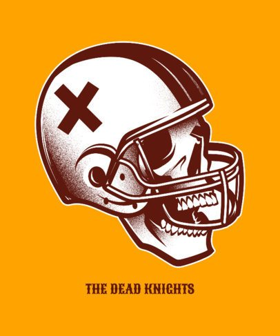 Tee Design Template with a Football Skull Clipart 834f