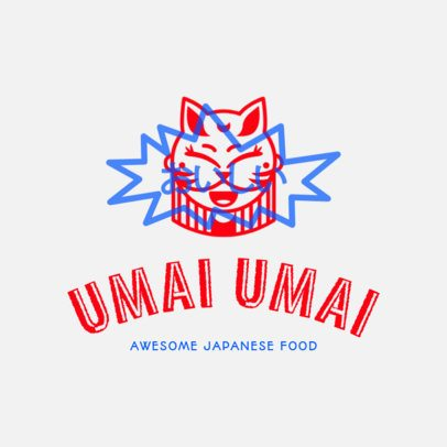 Japanese Food Logo Creator with Funny Cat 1820c