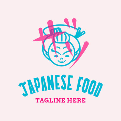 Japanese Food Logo Maker with Japanese Woman Clipart 1820e