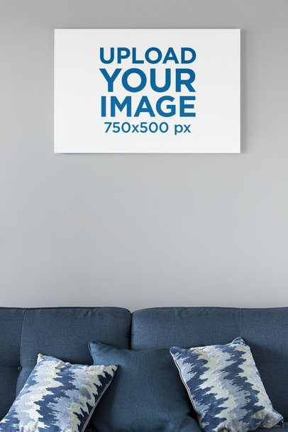 Mockup of a Canvas Hanging on the Wall of a Neat Living Room 25868