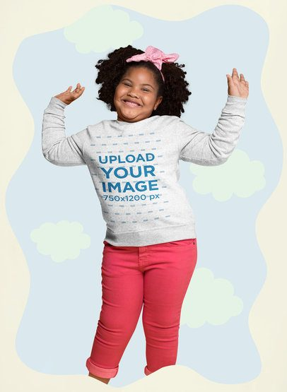 Mockup of a Happy Afro-Haired Girl Wearing a Plus Size Sweatshirt Surrounded by Paper Clouds 25574