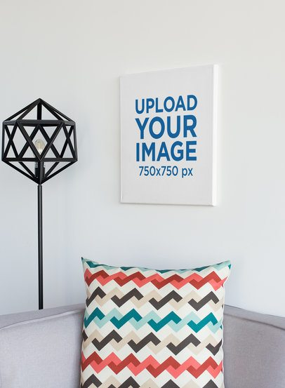 Art Print Mockup Featuring a Minimalistic Living Room 25855