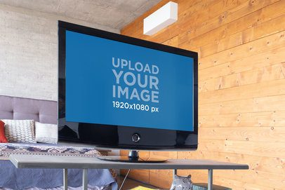 Low-Angle Smart TV Mockup Featuring a Modern Living Room 25842