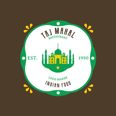 Indian Food Logo Maker with a Taj Mahal Clipart 1827b