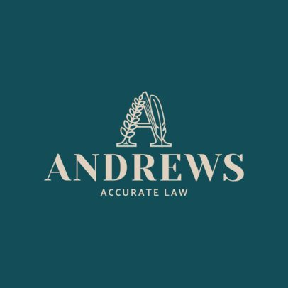 Minimalist  Attorney Logo Design Template with Artistic Letter Illustration 1853c