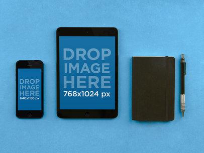 iPad Mini Vs iPhone Portrait Blue Table