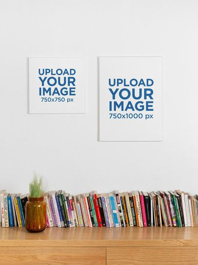 Mockup of a Square Canvas Print and a Vertical Wall Canvas Displayed over a Bookshelf 25863