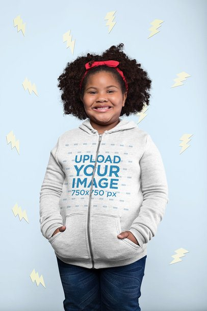 Plus Size Full-Zip Hoodie Mockup of a Girl Surrounded by Cartoon Lightning Shapes 25580