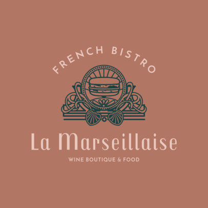 Stylized French Food Restaurant Logo Maker 1809c