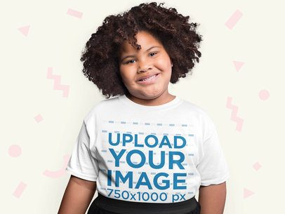 Plus Size Tee Mockup of a Smiling Girl with Afro Hair Surrounded by Paper Figures 25588