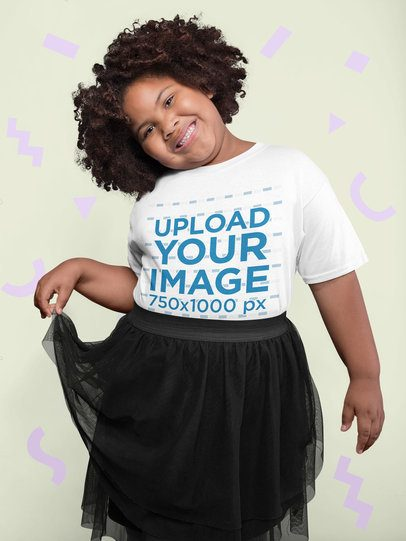 Plus Size Tee Mockup of a Cheerful Girl with Afro Hair Surrounded by Cut Out Paper Shapes 25590