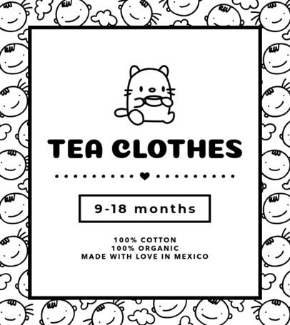 T-Shirt Label Design Template with Childish Graphics 1134b
