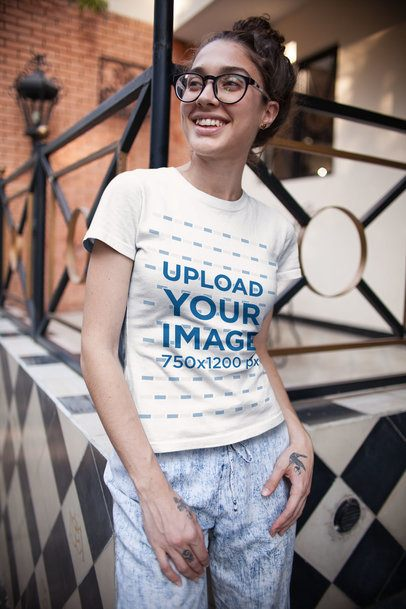 T-Shirt Mockup of a Curly-Haired Girl with Glasses 25802