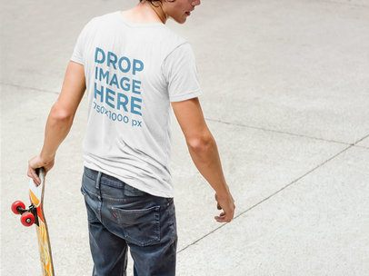 T-Shirt Mockup of a Male Skateboarder at a Skate Park a6088