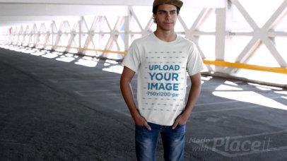 T-Shirt Video Featuring a Skater at a Parking Lot 12865