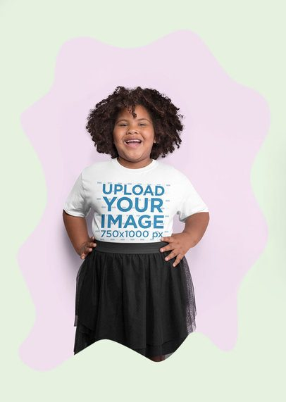 Plus Size Tee Mockup of a Curly-Haired Girl Having Fun at a Studio 25591