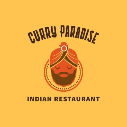 Indian Restaurant Logo Generator with a Maharaja Cartoon 1828b