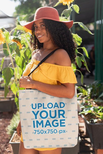 Tote Bag Mockup of a Woman with a Floppy Hat 26686
