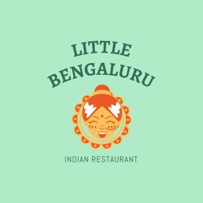 Restaurant Logo Generator with an Indian Girl Cartoon 1828e