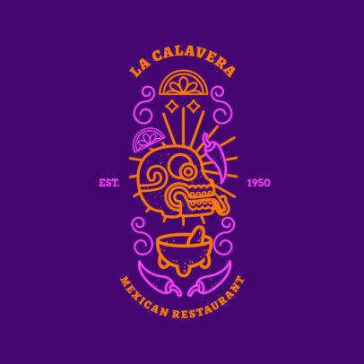 Restaurant Logo Maker wit Neon-Colors Mexican Art 1934