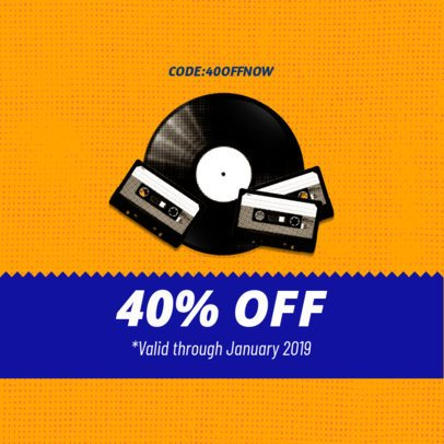 Discount Coupon Template with Retro Music Elements 1014a