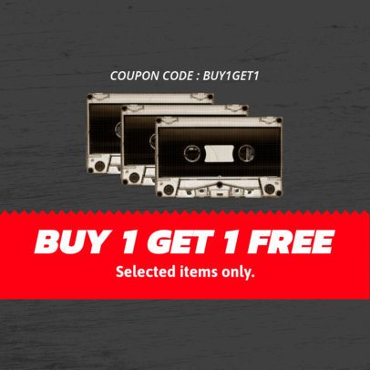 Customizable Coupon Template with Vintage Cassettes 1014e
