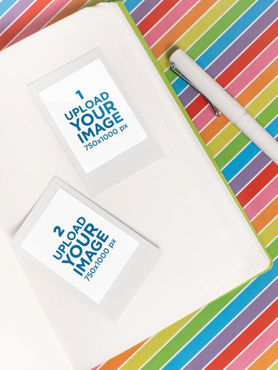 Mockup of Two Polaroid Picture Frames over a Colorful Open Notebook 26164