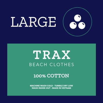 Inside Tag Template for a Beach Apparel Brand 1135e