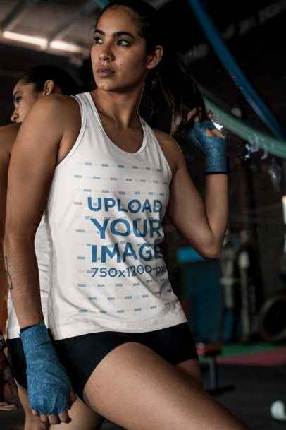 Tank Top Mockup of a Female MMA Fighter at a Gym 26256