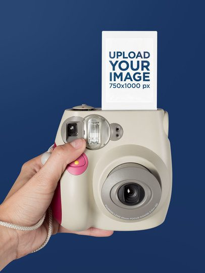 Instax Frame Mockup of a Camera in Selfie Position 26163